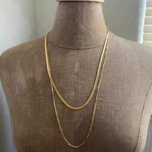 Madewell gold tone chain necklaces
